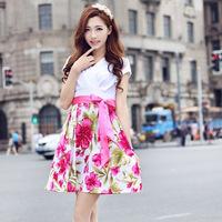 OVO! New 2014 cute style dress print v-neck chiffon knee-length women dress dresses F.LYQ.384