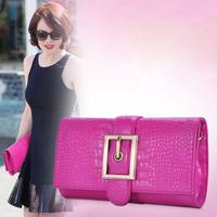 100% Genuine Leather Handbags 2014 Designer Brand Women Clutch Purses Crocodile Pattern Brand Messenger Bags Evening Bags SALE