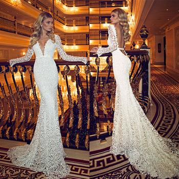 Новое поступление 2014 длиной до пола створки кружева глубокий v-образным вырезом свадебное бальные платья с длинным сексуальная спинки длинные рукава кружева русалка свадебные платья