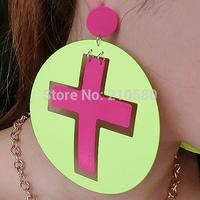 New Fashion Jewelry Drop Earrings for Womens Round Cross HIPHOP Neon Large Earrings Catwalk Stars Dangle Earring Woman Brincos