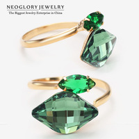 Neoglory 14K Gold Plated Green AAA Cubic Zirconia Rings for Women Austria Crystal Fashion Jewelry Accessories 2014 New Arrival