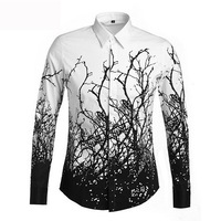 Luxury New Brand Floral Male Mens Stylish Shirts Long Sleeve 2014 Causal Cotton Slim Fit Button Dress Clothes Man Shirts Shirt