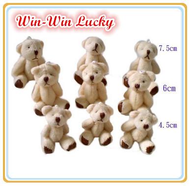 Hot Sale 4.5 cm Mini Teddy Bear Soft Joint Stuffed Bear Wedding Decoration Doll Cartoon Toy Can Sit Plush Bear 100 Pcs/lot(China (Mainland))
