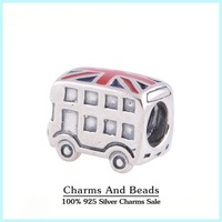 925 Sterling Silver London Bus Charm Thread Beads For Bracelet Jewelry Making Fits Pandora Style Charm Bracelets & Bangles