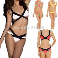 2015 Hottest Sexy Women Bandage Bra Padded Bikini Swimwears for women Halter Swimsuit Brand New Swimsuit   5 Colors S/M/L