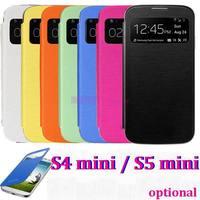 1000pcs/lot*Slim Smart Sleep Wake Function Flip Leather Back Cover Case For Samsung Galaxy S4mini  I9190 S4 mini  s5 mini
