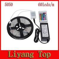 Free shipping 5M RGB LED Strip Light 5050 Non Waterproof 110V 220V to 12V + 24Keys Remote + 6A Power Adapter Supply Transformer