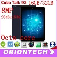 9.7 Inch Cube Talk 9X U65GT MT8392 Octa Core 2.0GHz  16GB/32GB Tablet PC  3G Phone Call 2048x1536 IPS 8.0MP Camera Cube Talk9X