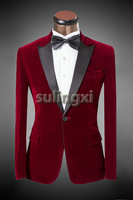 New Luxury Fashion Brand Groomsmen Dress Wedding Suit For Men 2014 Groom Classic Red Suits Slim Fit Tuxedo Jacket Pants Blazer
