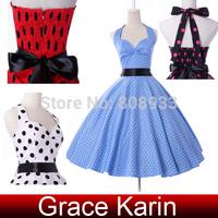 Grace Karin Women Fancy Short Cotton Halter Polka Dot 50s 60s Retro Pinup Rockabilly Party Vintage Swing Dress 2014 CL4599