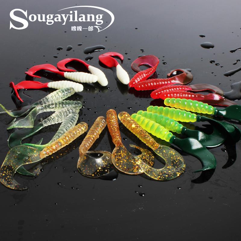 Promotion ! 100Pcs/Lot 5 Kinds Of Color 6.5cm Big Fishing Worm Lure Fish Trout maggot Grub Soft Bait Fishing Lure(China (Mainland))