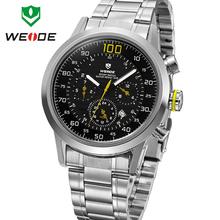 Moda WEIDE militar relojes para hombre de cuarzo reloj deportivo marca de lujo calendario completo famoso Waterproofed pulsera de acero completo