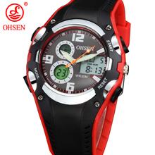 Ohsen nueva analógico Digital Display alarma militar cronómetro Red hombres correa de silicona de cuarzo ocasional del deporte muchacho de los niños relojes digitales