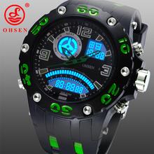 Ohsen hombres exterior deportes relojes moda Casual impermeable reloj de cuarzo LCD Digital y analógico militar de múltiples funciones reloj