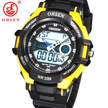 Mens impermeables Boy 's 2 Time Zone analógico Digital LED cuarzo alarma de día fecha cronógrafo reloj de pulsera deportivo relojes militares del ejército