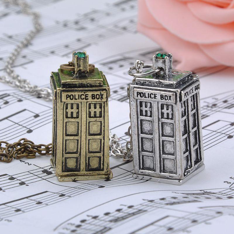 Wholesale Creative Retro Silver Bronze Police Box Pendant Necklace Tardis Vintage Necklaces Pendant Women Men Y70*MHM036#M5(China (Mainland))