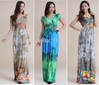 2014 vestidos largos sexy women clothes Sundresses vestidos longos Print Large Size backless dress  robe longue Jupe Vestido