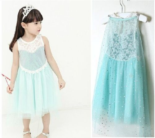 2014 Retail Frozen children dress,New frozen elsa cosplay costume girls dress,Short sleeve sequined frozen princess girls dress(China (Mainland))
