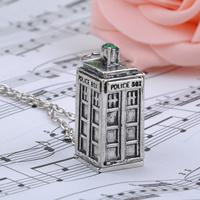 Bronze/Antique silver/golden color doctor who TARDIS police box pendant necklace Men's women's necklace FMHM036