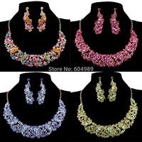 Free Shipping 1set/lot Cheap Wedding Bridal Crystal Earring Necklace Blue/Green/Red/Topaz Jewelry Sets Women Rhinestone WA567-3#