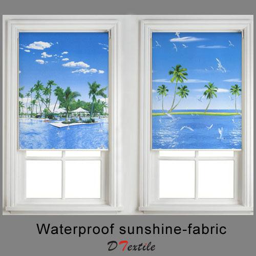 Hot selling waterproof sunshine fabric summer ocean scenery colored