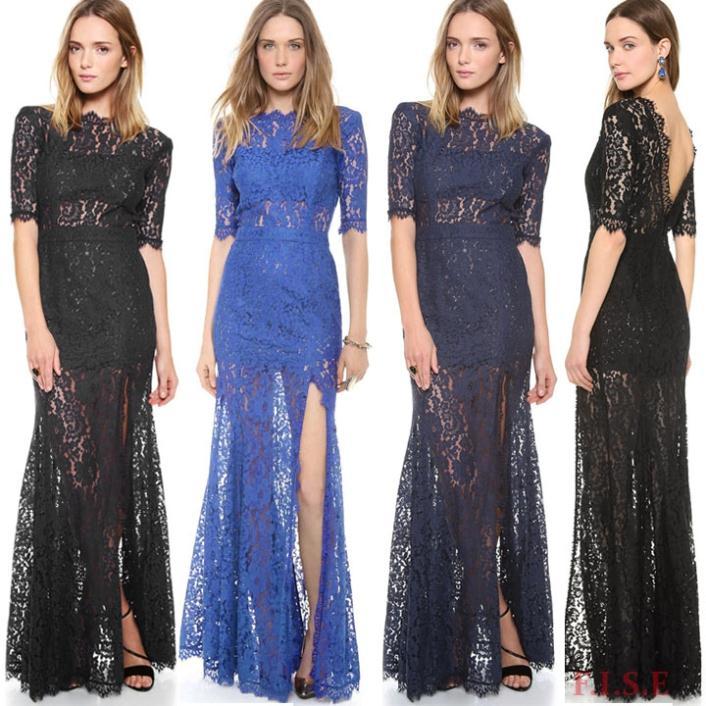 vestido de noche vestido de fiesta formal 2014 largo de encaje sexy vestido sin espalda de la mitad de la manga de de vestidos vestidos de fiesta vestidos hasta el piso