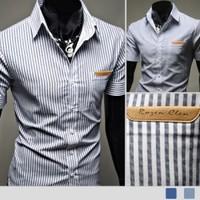 2014 Spring Summer Mens Dress Shirts False Double Collar Design Slim Fit Casual Short Sleeved Shirt 8055