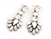 Rhinestone Statement Earrings Elegant Faceted Drop Earrings New Trendy Statement Earrings White Earrings BJE95120