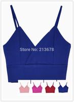 New 2014 CHOIES Designer Women High Street Summer Sexy Zipper Back Spaghetti Strap V-neck Camis Crop Top 4 Colors Free Shipping