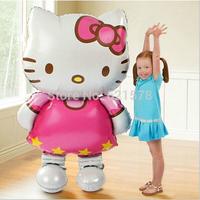 wholesale 10pcs/lot 116*78CM big sizewalking HELLO KITTY  balloon for birthday decoration KT cat aluminum foil balloon