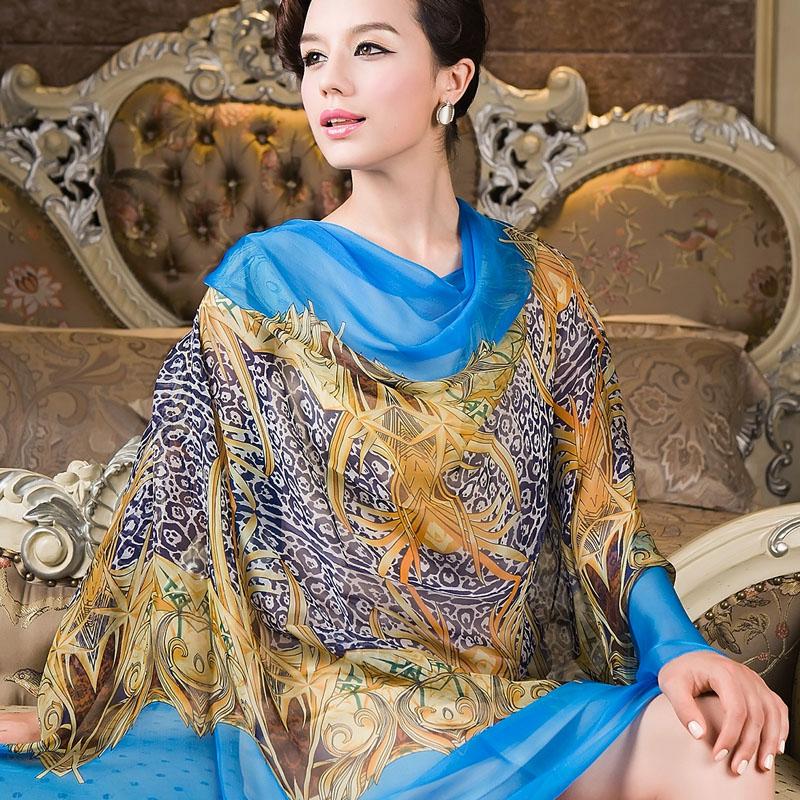 2014 Spring Autumn Female Long Silk Scarf Shawl Printed Hot Sale Red Silk