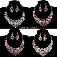 Free Shipping 1set/lot Fashion Crystal Earring Necklace Set Wedding Bridal Jewelry Sets Rhinestone WA564