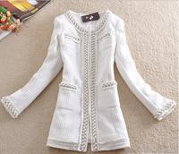 Free Shipping Casacos Femininos 2014 Small Women Medium-long Beading Outerwear Overcoat Women Wool Winter Woollen Coat E 02