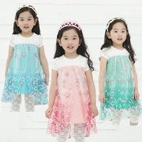 Retail 2014 new frozen dress, European and American fashion frozen dress, 100% cotton cartoon dress. Children's clothes.