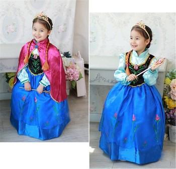 Розничная 2015 девушка одежды романтика эльза платье принцессы эльза и анна фильм косплей костюм дети девушки синий платье ну вечеринку платья