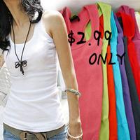 Temperament long T-shirt women vest tops candy color fashion tank tops woven cotton rib knitting women tank Tops