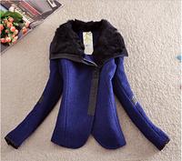 Women's Coats 2014 Broadcloth Winter Coat Women Flocking Female Overcoat Turn-down Collar Zipper Solid Slim Women's Coats E 04