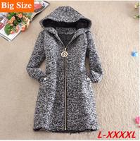 4XL New 2014 Fashion Winter Woolen Coat Women Thick Slim Woolen Outerwear Long sleeve Jackets Women Plus Size Free Shipping E 06