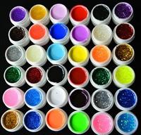 36 Pcs Mix Color Pure Glitter Hexagon Sheet UV Builder Nail Gel for Nail Art Tip Set