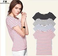 Striped Cotton T Shirt Women Fashion T shirts New 2014 Crop Top Plus Size Short Sleeves Summer Tops Female SS14B025