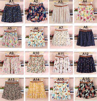 16 стили женщины девушки дамы эластичный пояс свободного покроя симпатичные урожай цветочные цветы плиссированные над коленом мини юбки без пояса
