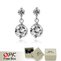 OPK JEWELRY Wholesale White Gold Plated Crystal Drop Earrings,Fashion Austrian Zircon Rhinestone Earrings, Fashion Jewelry, 011
