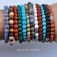 Fashion Mixed Stone Beads Tibetan Silver Bracelet Stretch Pick Stone Jewelry GEM G594-G605