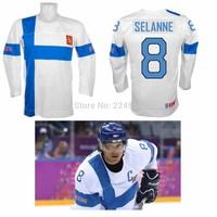 2014 Team Finland Hockey Sport Jerseys Teemu Selanne Jersey #8 Anaheim Mighty Ducks Jerseys Embroidered Any NO. Name Sewn On