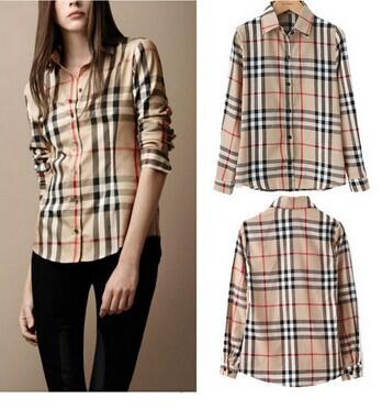 fashion Lattice Casual chiffon Blouse Stripe Plaid Printed Vintage Design Lady long Sleeve Slim women Shirt top(China (Mainland))