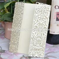 "2014 wedding decorations invites ""little vines""  light gold pocket design laser cut wedding invitation card from Mery Crafts"