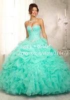 Hot Sale Beaded Corset Ruffles Organza Turquoise Quinceanera Dresses Ball Gowns 2014 WX570 Vestidos de Debutante