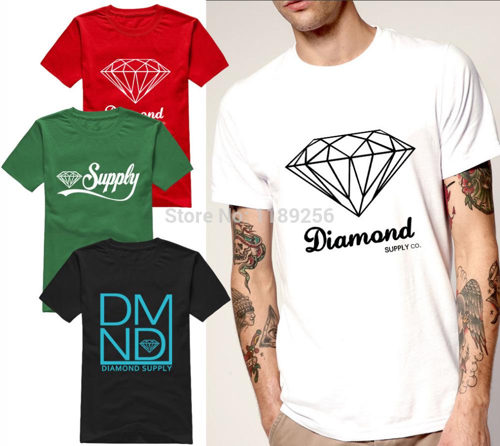 Summer Fashion Diamond Supply Co Men's t shirts Black white Cool diamond supply tshirt Unique Design Short Sleeve Man Top Shirts(China (Mainland))