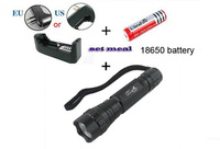 Free shipping 2000 Lumens Zoomable T6 LED Flashlight Varifocal LED Torches used 18650 For camp +Batery +Recharger