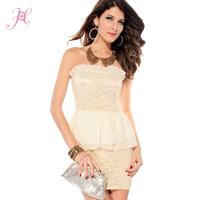 2014 Fashion Ivory Crochet Peplum Dress  Women Graceful Summer Office Dress Eropean Style Vestidos  LC2794